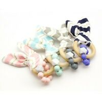 Cotton Rabbit Ear Wood Ring Silicone Beads Teether Rattles Baby Teething Jewelry