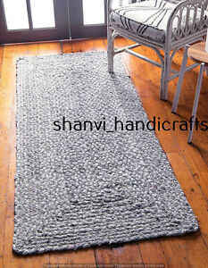 Handmade Braided Cotton Runner Rug Multi Grey Color Home Decor Living Area Rugs