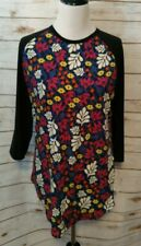 LuLaRoe Randy T Shirt XL Black Sleeves Floral Body Blues Pink Yellow more NWT