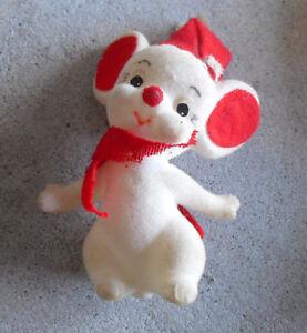 """Vintage 1970s Felt over Plastic Christmas Mouse Figure 3"""" Tall"""