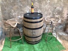 Oak barrel bar table and 2 metal rustic brown bar stools