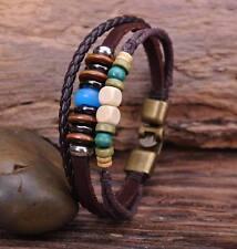 G72 Bronze Surfer Hemp Leather Wood Beads Wristband Bracelet Cuff Multi Color