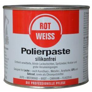 ROTWEISS  Schleif Polierpaste Silikonfrei Autolack und Chrompolitur 750ml RW750
