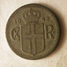 1942 ICELAND 10 AURAR - Excellent Coin - FREE SHIPPING - Iceland Bin A