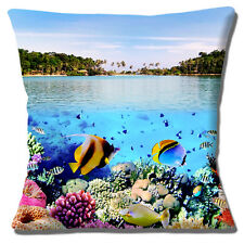 "Sea Underwater Photo Cushion Cover 16""x16"" 40cm Tropical Fish Coral Beach View"