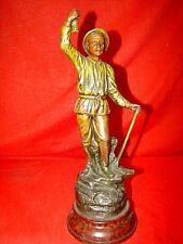 statuette en régule polychrome représentant un mineur  sur socle bois ép. 19éme