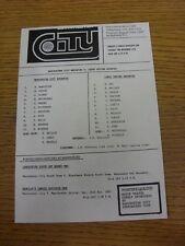 05/11/1991 Manchester City Reserves v Leeds United Reserves  (Small Single Sheet