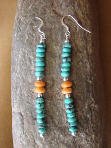 Native American Navajo Jewelry Spiny Oyster & Turquoise Dangle Earrings