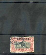 BELGIAN CONGO Sc 37(MI 7I)F-VF USED 1909 1F CARMINE & BLACK $21