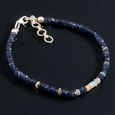 Blue Sapphire And Opal Beads Bracelet With 925 Sterling Silver Lobster Clasp 108