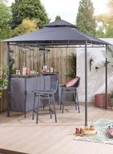 Grey Gazebo Bar Set With 2 Stools Two Garden Chairs Drink Storage Shelf