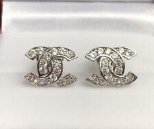 18k Solid White Gold Cute Italian Stud Earrings With ZC, 2.10Grams