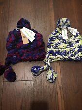 Burton GIrls Nanna Earflap Hand Knit Winter Hat OSFA Lot Of 2 Purple Yellow NWT