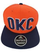 New OKC Oklahoma City Thunder Mens Orange Adidas Flatbrim Snapback Hat $26