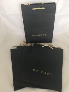 New Bvlgari Paper Bag Shopping Gift 5 Bulgari Gift Bags Authentic Textured Italy