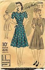 1930's VTG Du Barry Misses' Dress Pattern 2450B Size 16 UNCUT