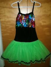 Dance Recital Ice skating skirted leotard dress Shiny Sequins Size CL