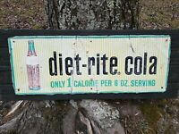 "Vintage Sugar-Free Diet-Rite Cola Soda Pop Advertising Tin Sign Ad 32"" x 12"""