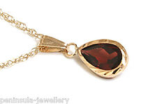 9ct Gold Garnet Teardrop Pendant necklace and Chain Gift Boxed Made in UK