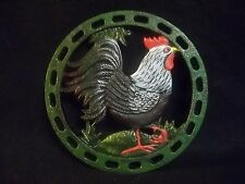 """NIB Cast Iron Rooster Trivet~7""""~Country Decor Pot Holder Teapot Stand~Great Gift"""