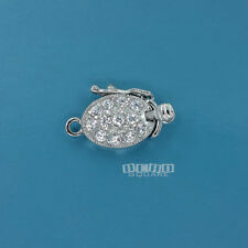 Sterling Silver CZ Crystal 1 Str. Oval Box Clasp Connector w/ Secure Lock #33250