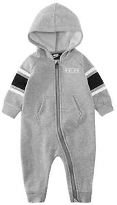 NIKE baby boy Hooded fleece BABYGROW NB 3M 6M 9M PLAYSUIT full zip black or grey