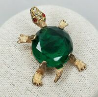 Vintage Turtle Brooch Gold Tone Green Faceted Cabochon Clear Red Rhinestone Eyes