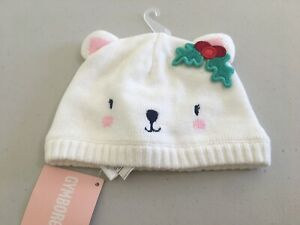 NWT GYMBOREE Holiday Shop Bear Face Sweater Hat 6 12 24M