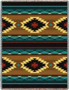 ANATOLIA Southwest Blue Brown Tapestry Afghan Throw Blanket