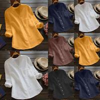 Women Ladies Cotton Linen Casual Long Sleeve Shirt Blouse Button Down Tops Tunic