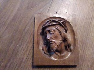 Vintage Carved Wooden Jesus Face