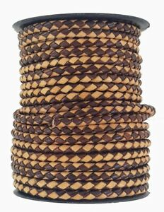 Plaited leather cord Brown & Tan 5 mm Round