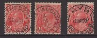 """Queensland 3 nice postmarks on KGV all start with """"A"""""""