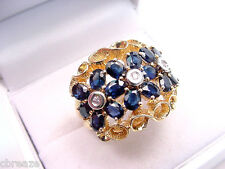NATURAL BLUE SAPPHIRES 4.00 TCW and DIAMONDS  HUGE 18 mm. Wide 14K GOLD RING
