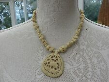 with star and lucky elephant Rare Art Deco authentic ornate carved necklace