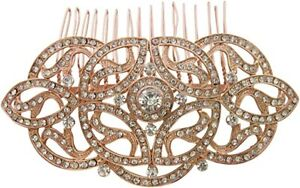 Vintage Inspired Art Deco Gatsby Style Rose Gold Crystal Diamante Hair Comb New