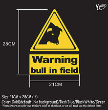 Bull in field warning sign stickers reflective countryside farm animal decals