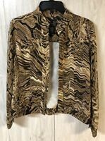 ATTYRE New York Womens Jacket Brown Animal Print Brown Black Open Front Size S