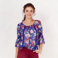 LC Lauren Conrad Womens Boho Blue Pink Top Sheer 3/4 Sleeve Floral Size S NWT
