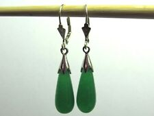 Green Jade Teardrop Drop Dangle Leverback Earrings 925 Sterling Silver