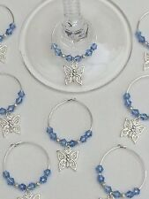 50 BLU farfalla di cristallo VINO VETRO Charms. FAVORI, WEDDING, Battesimo, galline