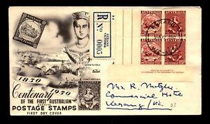 Australia 1950 2.5d FDC / Inscription Block / Registered - L17081