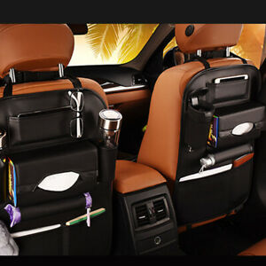 Car Rear Seat Organizer Universal For iPad Drink Holder Bag Storage Accessory