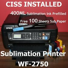 Epson WF-2750 Sublimation Printer Bundle With CISS Kit, Ink and 100 paper