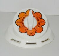 Vtg Kitchen Timer Orange Mod Flower Wind Up Loud Bell Mark Time MCM Kitsch