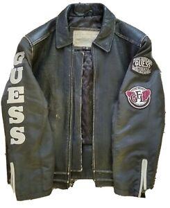 Vintage Mens Guess Leather Jacket Medium