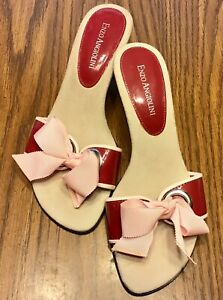 Enzo Angiolini Slip On Slide Sandals Shoes Open Toe Heel Red Pink Bow Trim Sz 6M