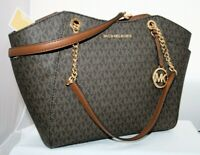 New Michael Kors Jet Set MK Signature Tote Brown Women's Shoulder Bag Purse