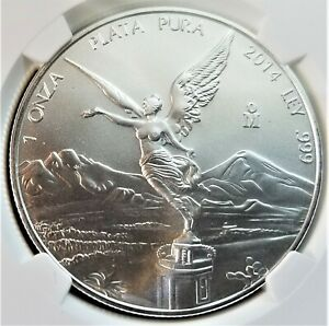 2014-Mo Mexico Onza Libertad 1 Oz Silver - NGC MS 69 - Winged Victory (009)