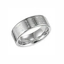 Triton 8mm Tungsten Carbide Cross Laser Pattern Ring Band Comfort Fit